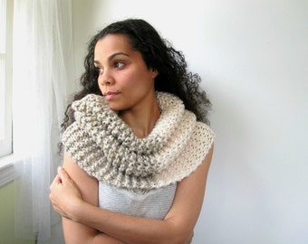 Cream and Wheat Two-Tone Cowl. Wrap, Shawl. Chunky, Soft, Cozy, Classic. Ivory, Beige.