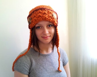 Cute Orange Aviator Hat with Rust Trim. Chunky. Handknit and Crochet. Peach Plaid Wool Buttons.