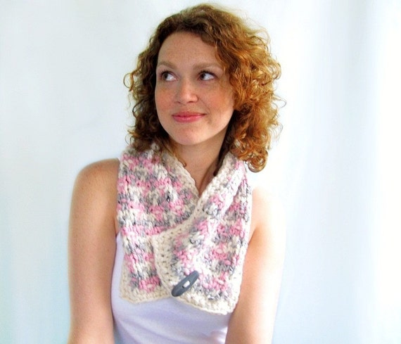 Handknit Scarf. Tweed Handknitted Neckwarmer in Pastels - Pink, Gray, and Winter White