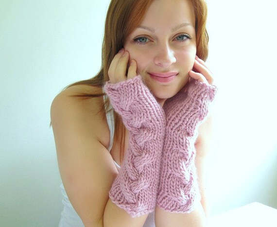 Pink Arm Warmers. Chunky and Soft. Baby Pink. Alpaca. Cabled. Handknit.