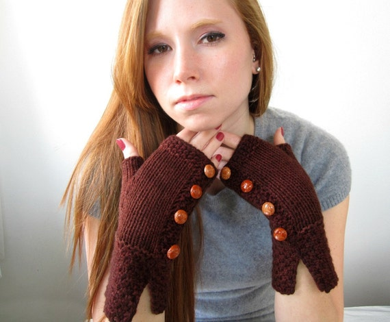 Chocolate Brown Cashmere Fingerless Gloves with Caramel Leather Buttons. Handknit, soft, luxury, classic.
