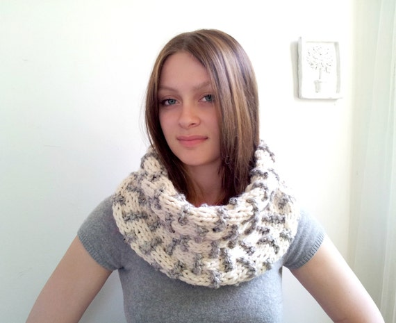 Winter White and Gray Textured Cowl. Chunky Handknitted. Super Snuggly
