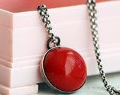 red apple vintage lucite necklace