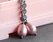 pink silk: swarovski crystal pearls and silver earrings