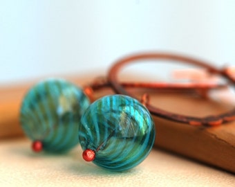 marbles teal glass and copper earrings