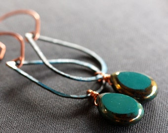 turquoise blue glass and copper patina teardrops earrings - large
