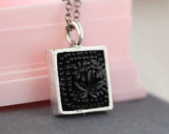 vintage square carved glass cabochon floral bezel necklace