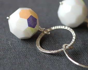 snowball vintage glass and sterling silver earrings