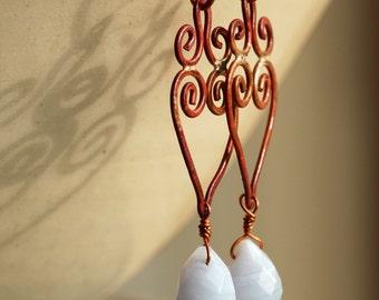 rusty heart blue lace agate teardrop and copper hearts earrings