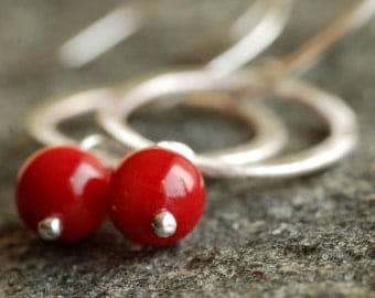 christmas apples: red coral silver hoops earrings
