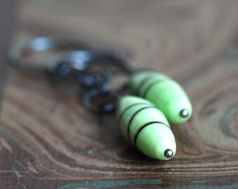 en pointe mint green vintage glass and silver earrings