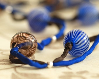 blue java silk and glass necklace
