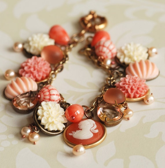 peach vintage charm bracelet