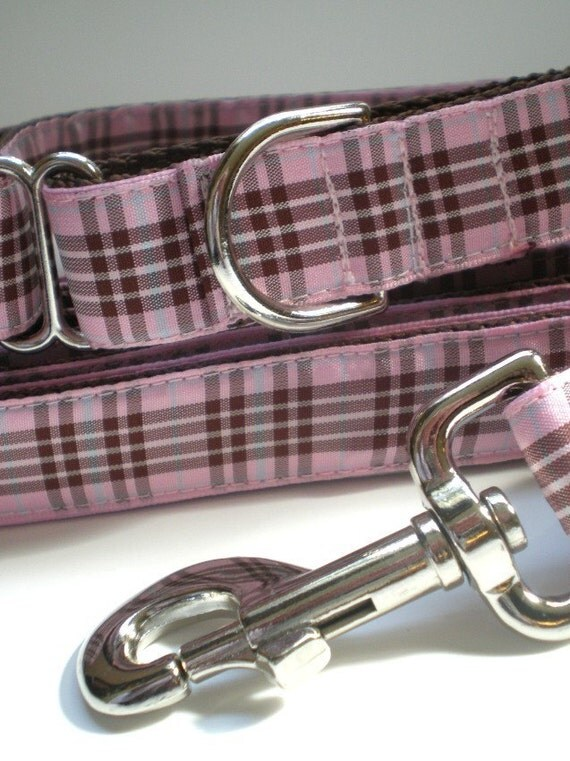 Items Similar To Pink Burberry Plaid Dog Collar And Leash
