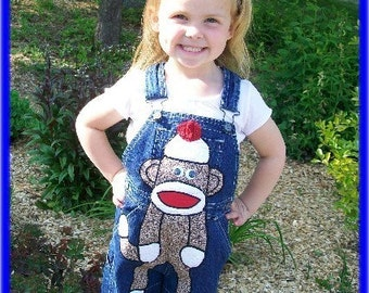 Cutiepies Couture Sock Monkey custom boutique overalls girls/boys