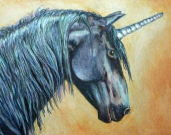 Unicorn Portrait Original Painting, Bold, Strong, Magical