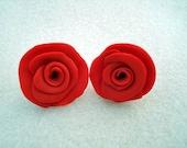 Red Hot Red Rose Earrings
