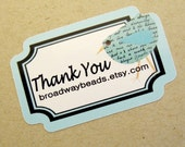 120  Custom Thank You Bird Stickers Blue Green Pink 00053