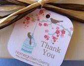 Custom Thank You Cards Tags Modern Cherry Blossom Bird Tree 00093a Wedding Gift Tag
