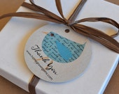 Custom Thank You Tags Colorful Birds Recycled Paper 00057f