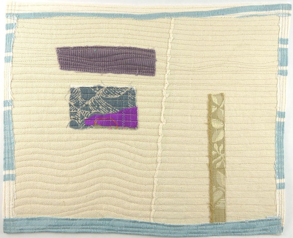 3.21.2012 small art quilt, contemporary, abstract, cotton, linen, silk, rayon, canvas, corduroy, off-white, purple, grey, french blue