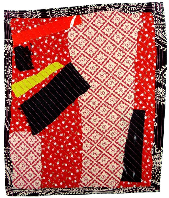 4.6.2012 small art quilt, contemporary, abstract, cotton, linen, ikat, red, black, citron, pink stitching