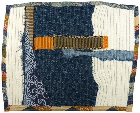 4.28.2012 small art quilt, contemporary, abstract, cotton, linen, rayon, white, indigo, brown, orange, gray stitching