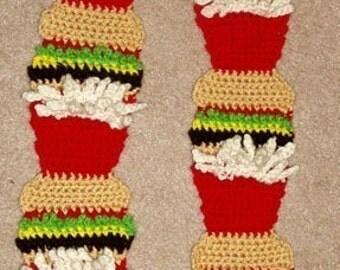 DIY Food Art Crochet Pattern 4 Hamburger and Fries Scarf