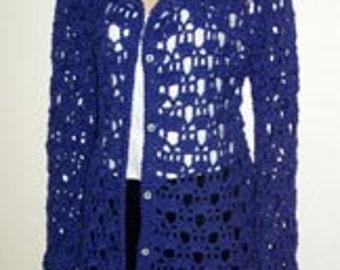 Long Blue Cardigan Sweater Crochet Pattern PDF