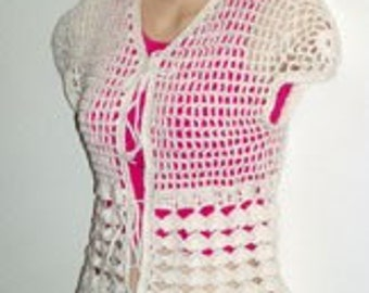 Cream Cap Sleeve Cardigan Shrug Sweater Crochet Pattern pdf