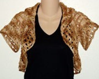 Easy Golden Brown Butterfly Shrug Cardigan Crochet pdf pattern
