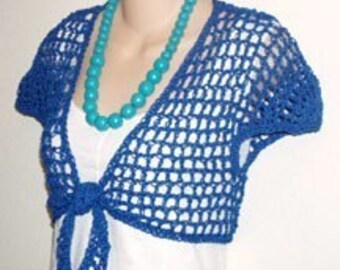 Blue Lacy Tie Shrug with Cap Sleeves Crochet Pattern PDF