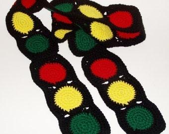 Crochet Pattern for Stop Light Traffic Scarf