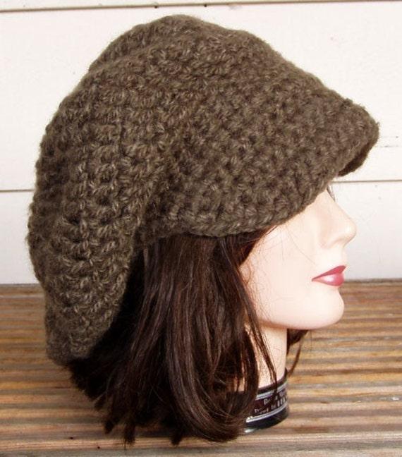 Brown Brim Crochet Rasta Tam Slouchy Beret newsboy Hat