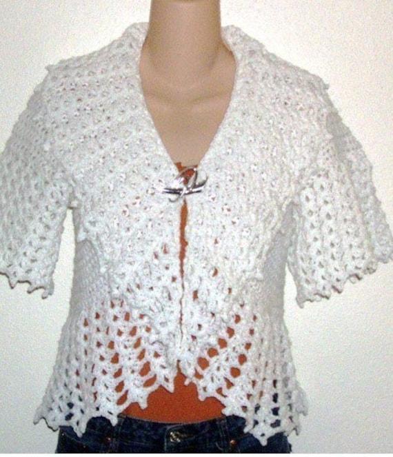 Crochet Pattern For Shell White Collar Shrug Sweater
