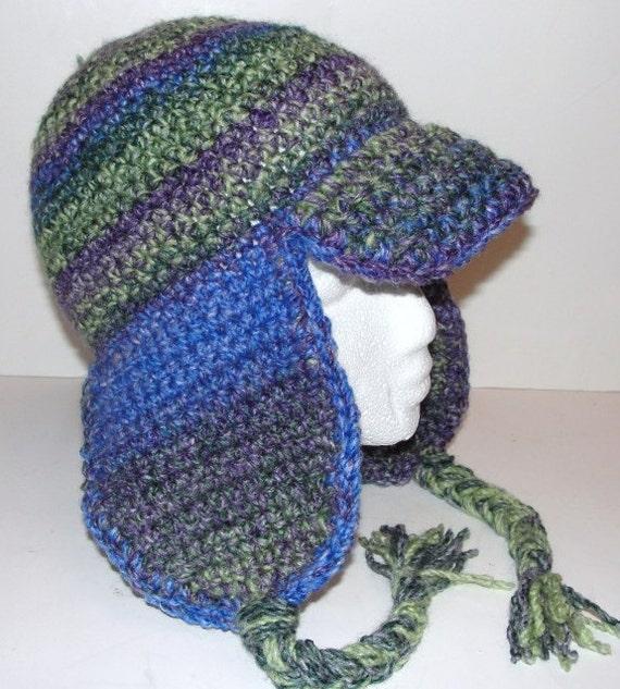 Crochet Beanie Hat With Ear Flaps Pattern : Ear Flap Hat with Brim 2 Crochet Patterns