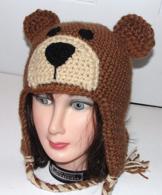 Crochet Baby Teddy Bear Hat Pattern : Teddy Bear Earflap Hat w/ Ties Adult Child Toddler Crochet
