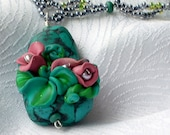 RESERVED Turquoise, Green, Lavender Peyote Free Form Beaded Polymer Clay Floral Necklace