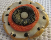 Handmade Polymer Clay Brooch Black White Orange and Gold Flower
