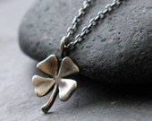 Oxidized Sterling Silver Shamrock Necklace - Rustic Shamrock