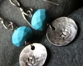Handcrafted TurquoiseManganesite Sterling Silver Dangle Earrings - WATER LOTUS