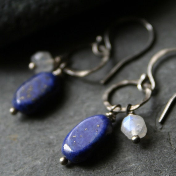Midnight blue Lapis Lazuli, white Moontone, Sterling Silver Earrings - BROADWATER