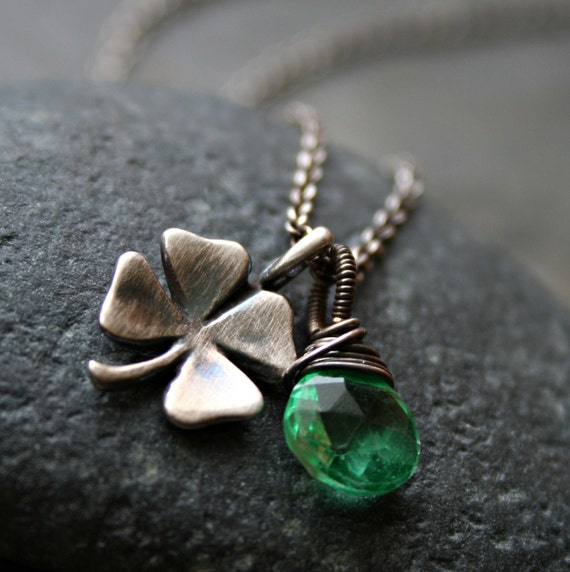 Sterling Silver Shamrock and Green Topaz Necklace - LUCKY CLOVER - St. Patrick Fashion