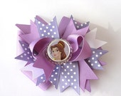 Boutique Princess Belle Disney Beauty n Beast Bottle Cap Hair Bow Clip with bow band RESERVED LISTING