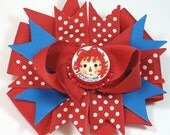 Boutique Raggedy Ann Bottle Cap Hair Bow Clip