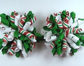Boutique Set of 2  Christmas Red Green White  Korker Hair Bows Hair Clip