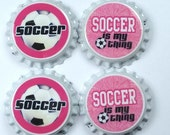 Set 4 Soccer Sealed Bottle Caps