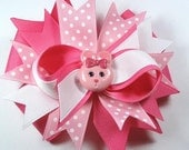 Adorable Pink and White Easter Bunny Hair Bow clip