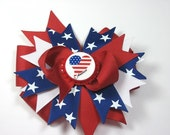 Red 4th of July Bottle Cap Hair Bow Clip Boutique Patriotic