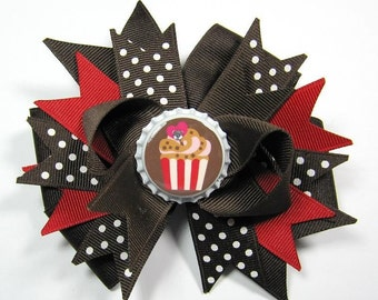 Boutique Brown and Red Cupcake Bottle Cap Hair Bow Clip